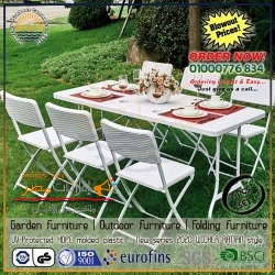 Luxurious portable folding furniture | 7-Pcs package | HDPE New series | white WICKER RATTAN design- look